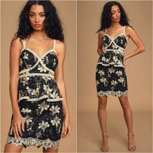 Lulus Blue Black Embroidered Karina Peplum Dress